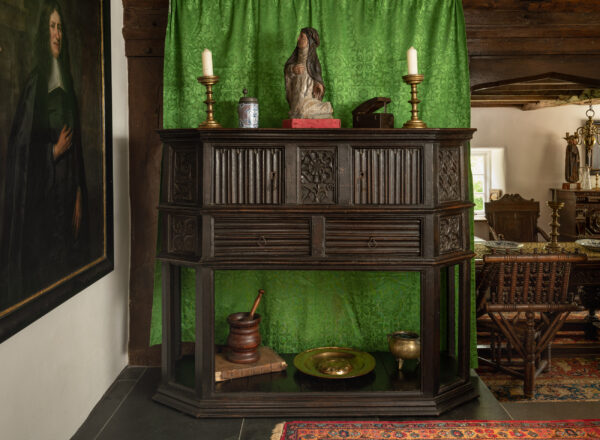 Henry VII canted oak cupboard