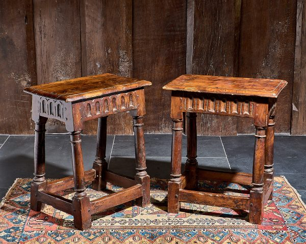 Charles I pair of yew wood stools