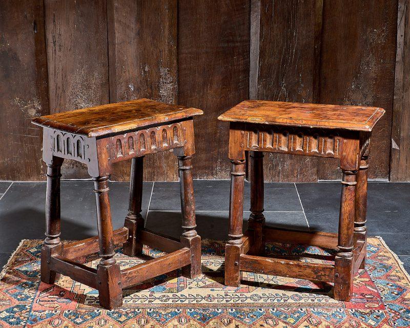 Charles I pair of yew wood stools