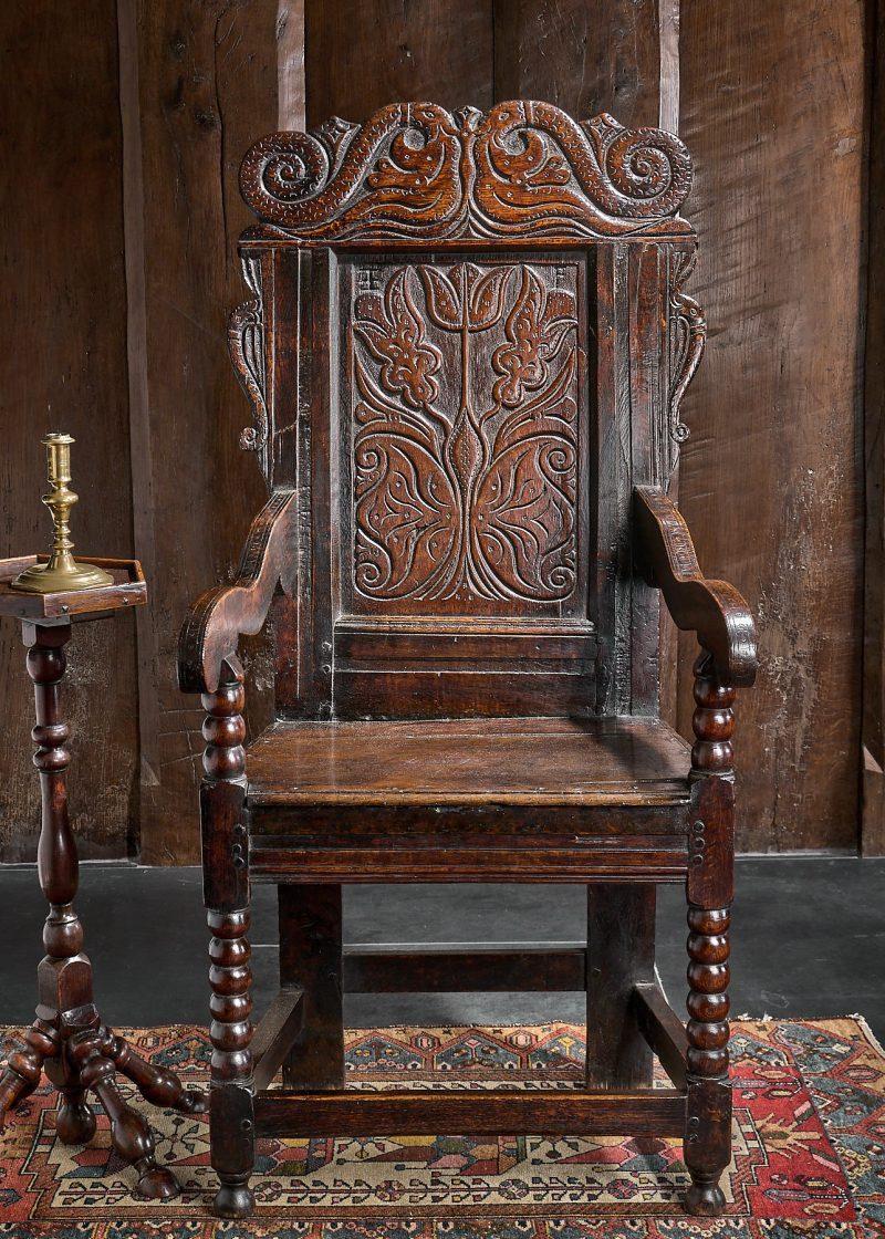 Charles II joined oak armchair