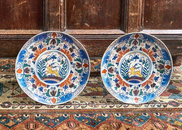 Pair of 18th century Delft plates