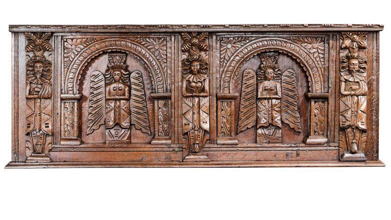 Elizabeth I oak carved overmantel