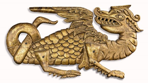 James I elm carved dragon