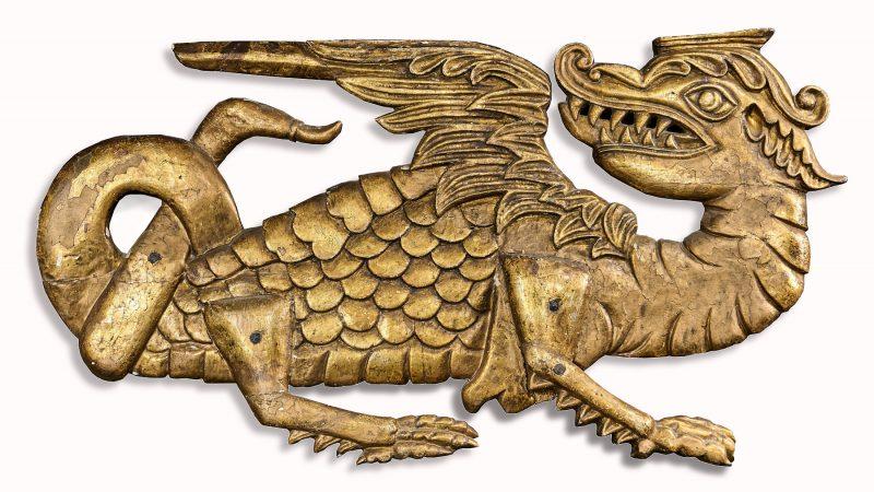 James I elm carved dragon