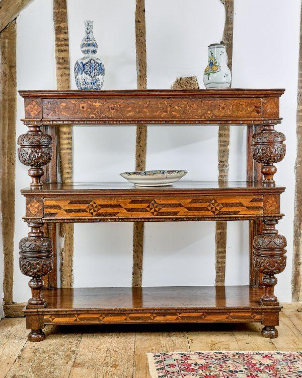Elizabeth I inlaid oak three tier cup-board