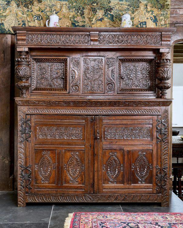 James I oak carved press cupboard