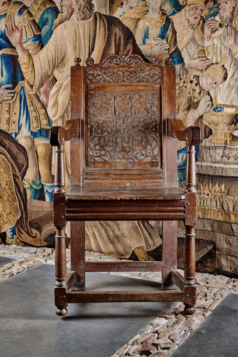 Charles I Exeter joined oak armchair