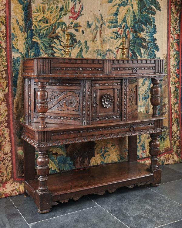 James I oak carved livery cupboard
