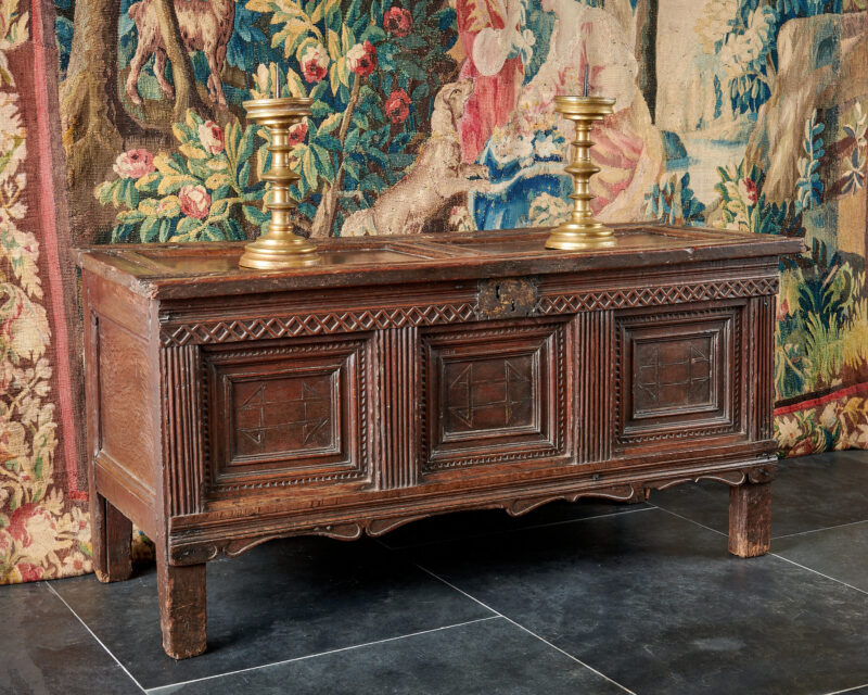 Elizabeth I oak carved and inlaid chest