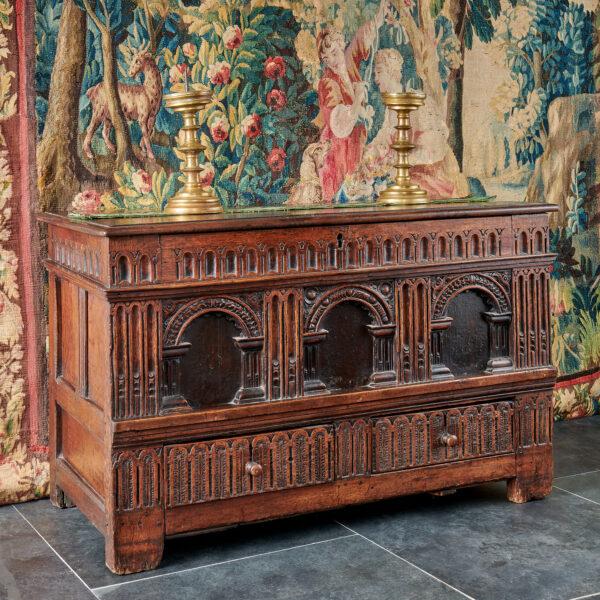Elizabeth I oak carved chest
