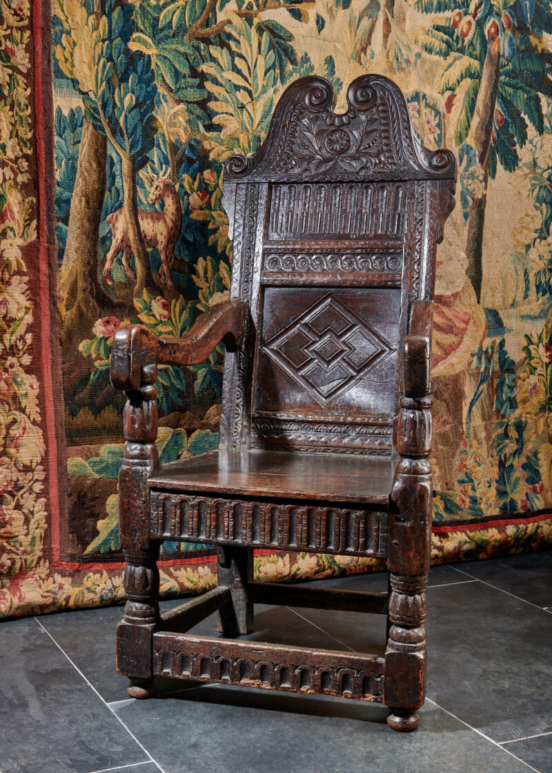 Elizabeth I oak carved armchair