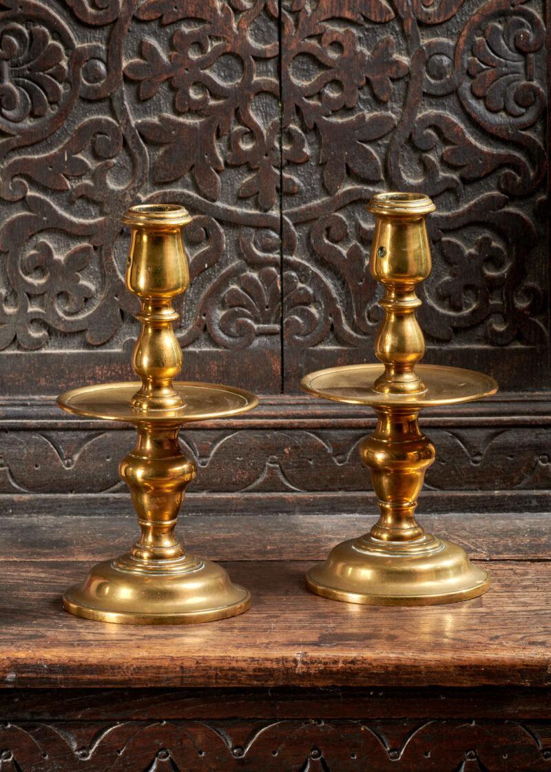 17th century brass Heemskerk candlesticks