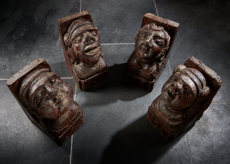 Medieval carved corbels