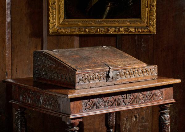 James I oak carved desk box