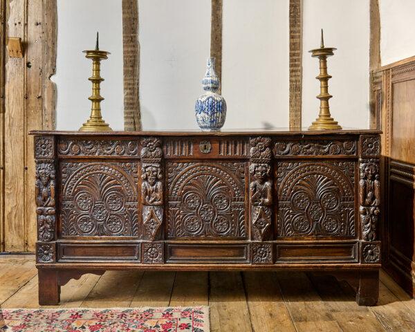 Charles II oak carved chest