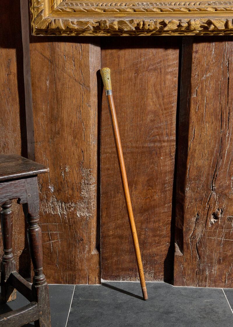 17th century pique walking cane