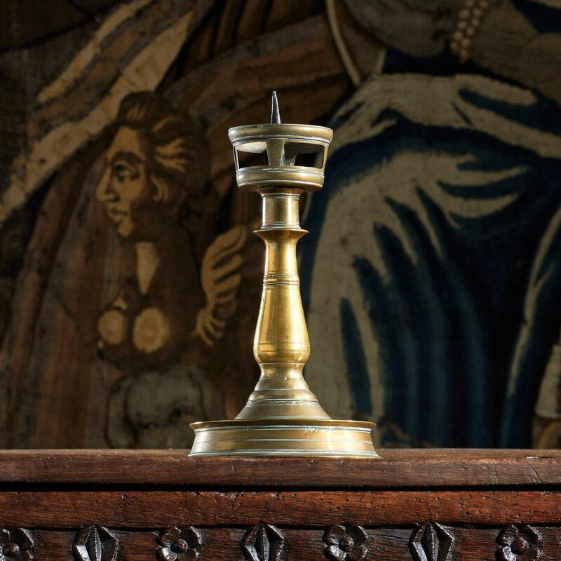 Henry VIII brass candlestick