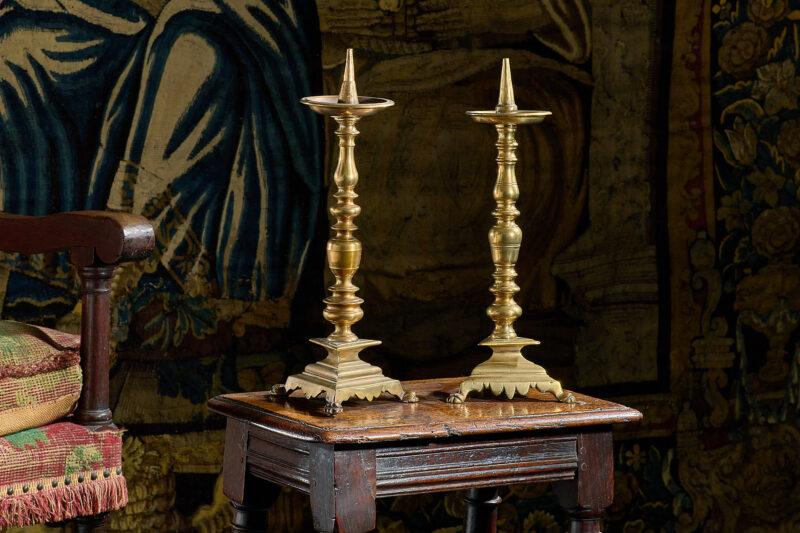 17th century brass candlesticks