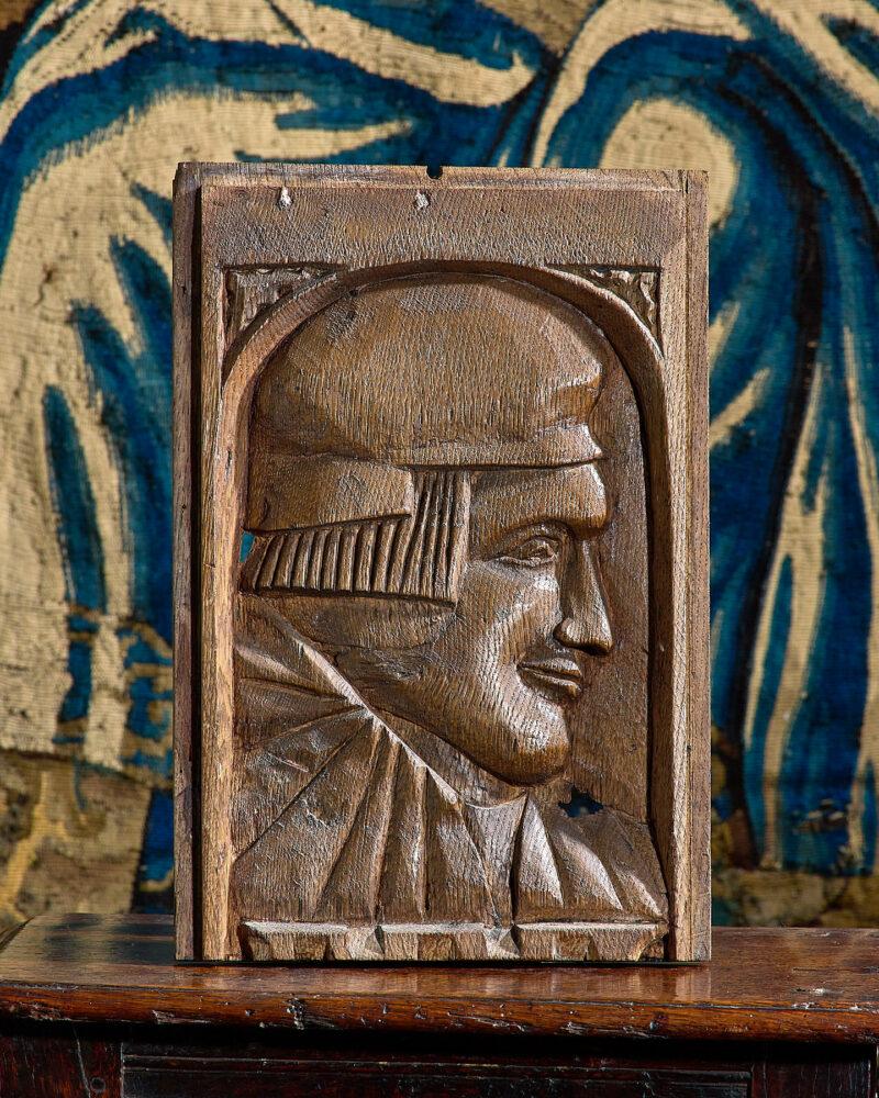 Henry VIII oak carved portrait panel