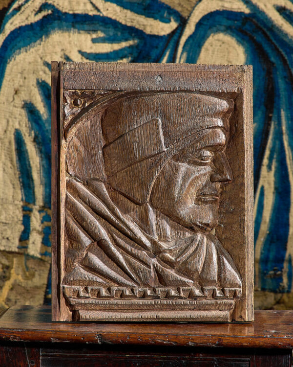 Henry VIII carved portrait of Thomas Wolsey