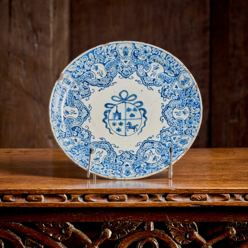 17th century Delftware heraldic plate
