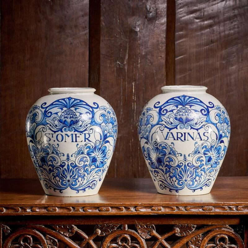 18th century Delftware tobacco jars