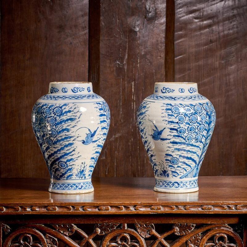 Dutch Delftware vases 18th century