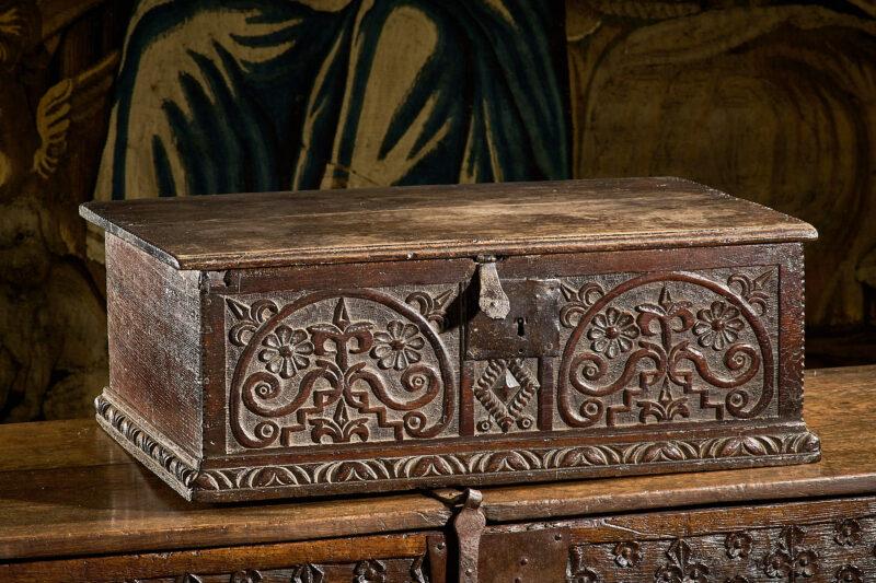 Charles II oak carved Devon box