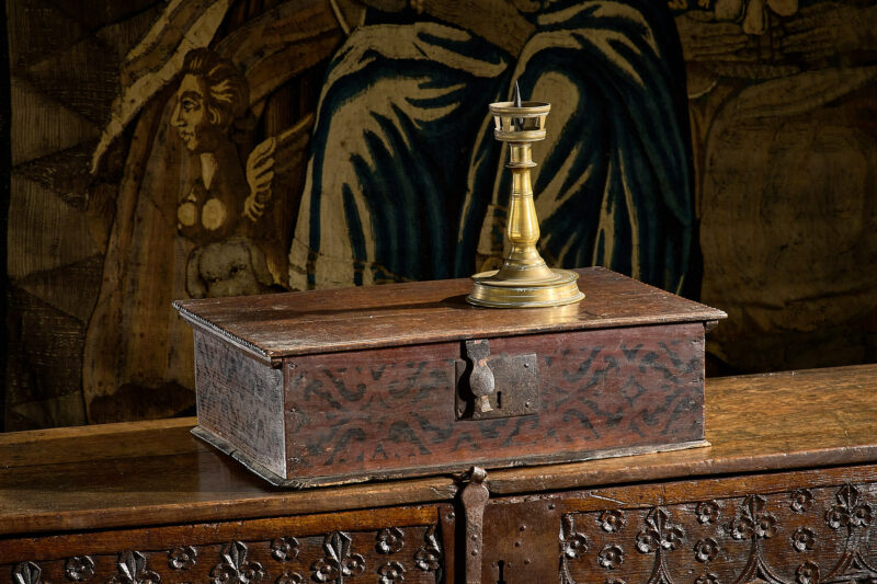 17th century painted oak box