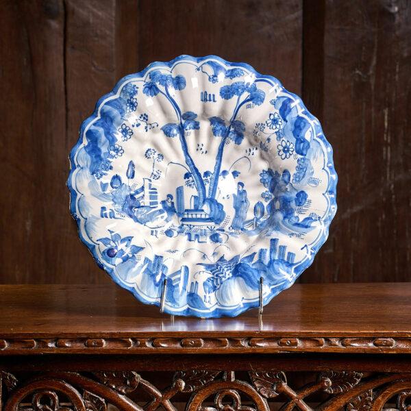 London 17th century Delftware lobed dish