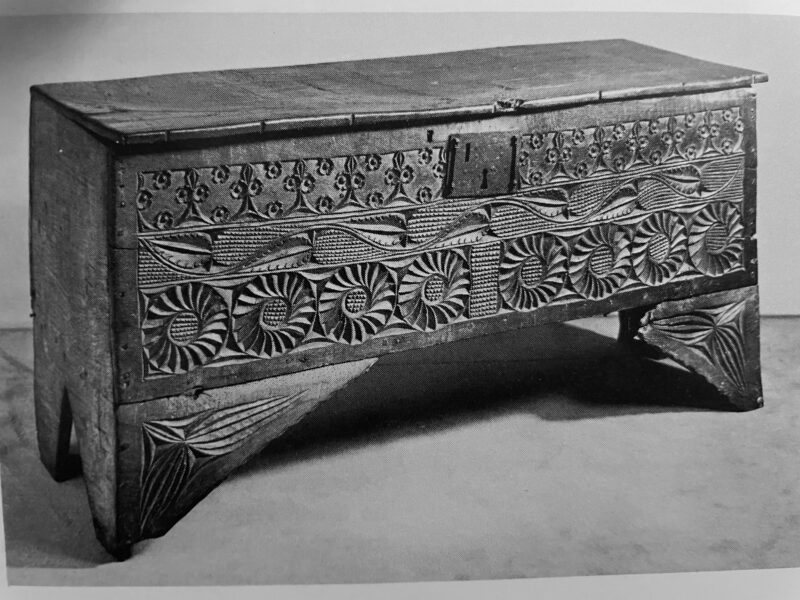 Henry VII oak carved boarded chest