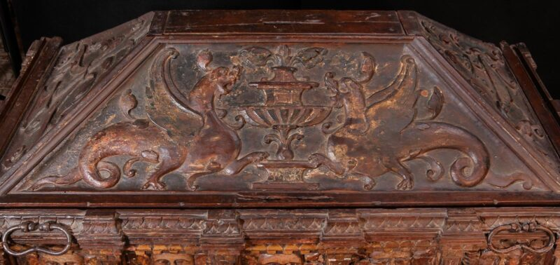 Rare painted and parcel gilt walnut chest 16th century