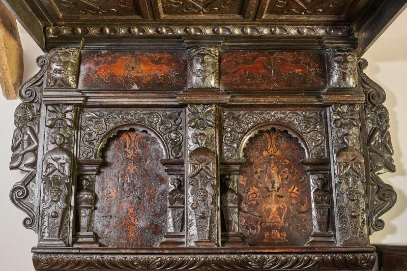 Elizabeth I inlaid and carved tester bedstead