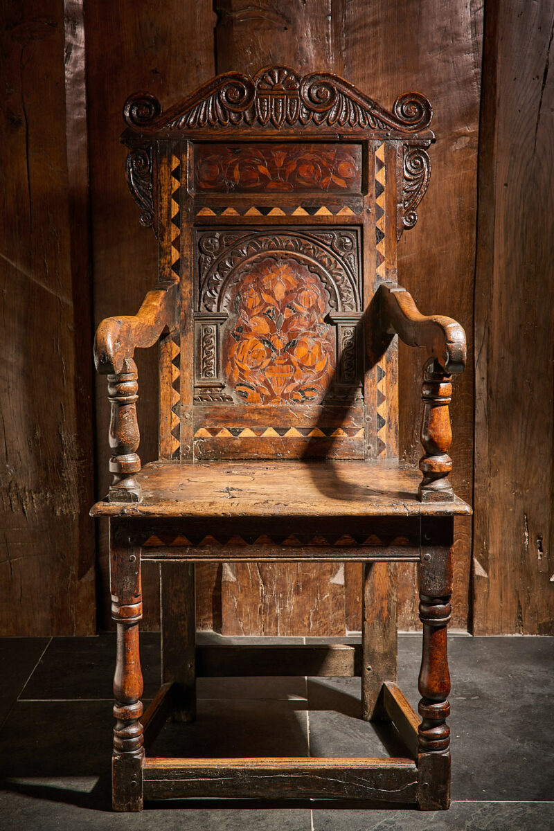 Pair of 17th century inlaid and carved armchairs