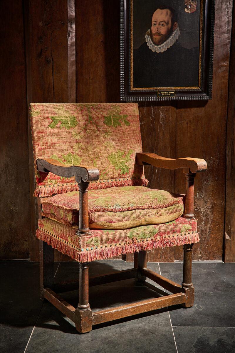 Charles I Turkey work covered armchair