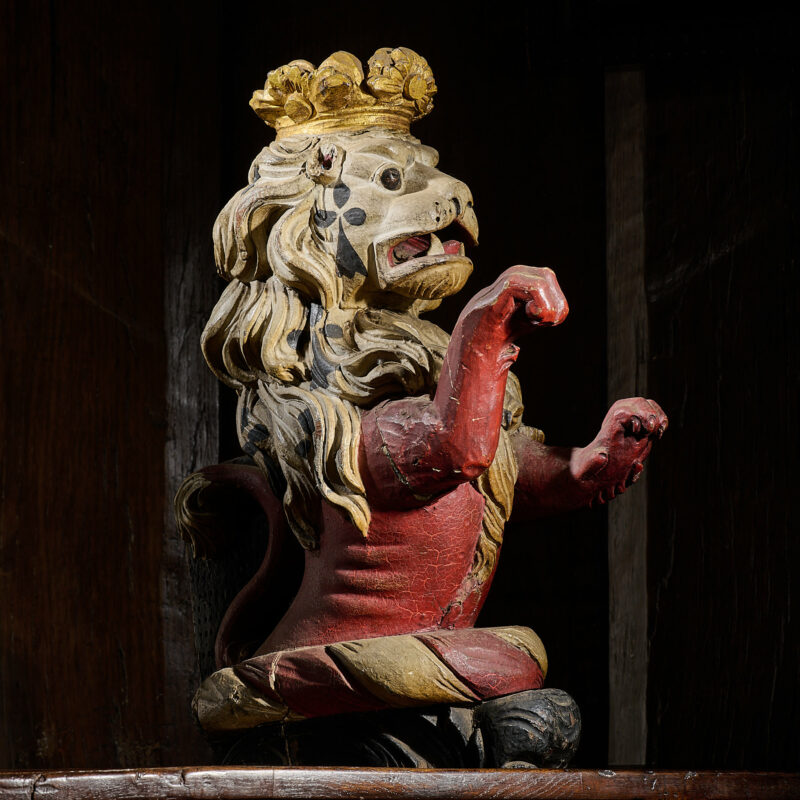16th century English carved oak rampant lion