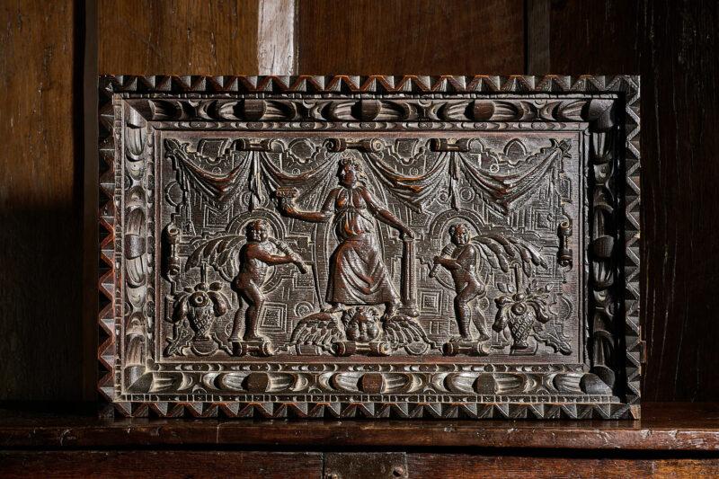 Elizabeth I oak carved panel