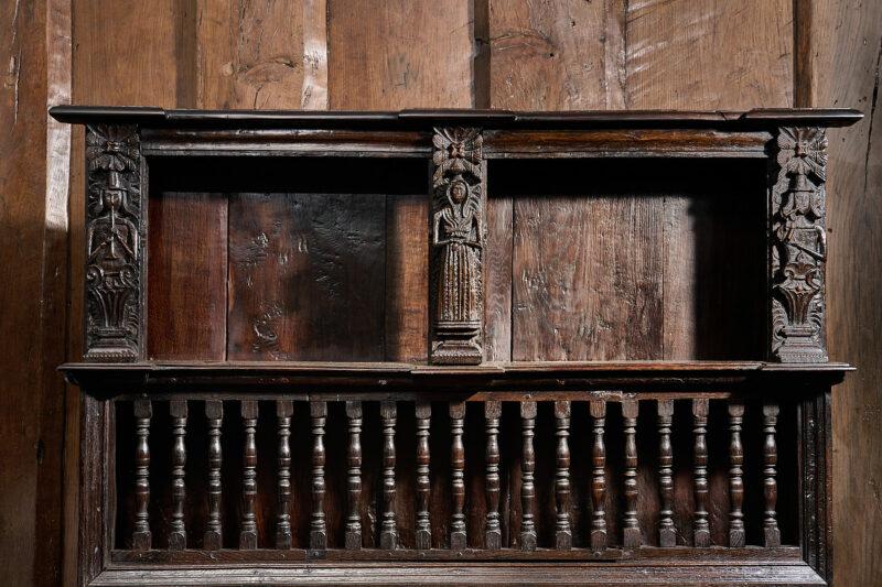 James I oak mural livery spindle cupboard