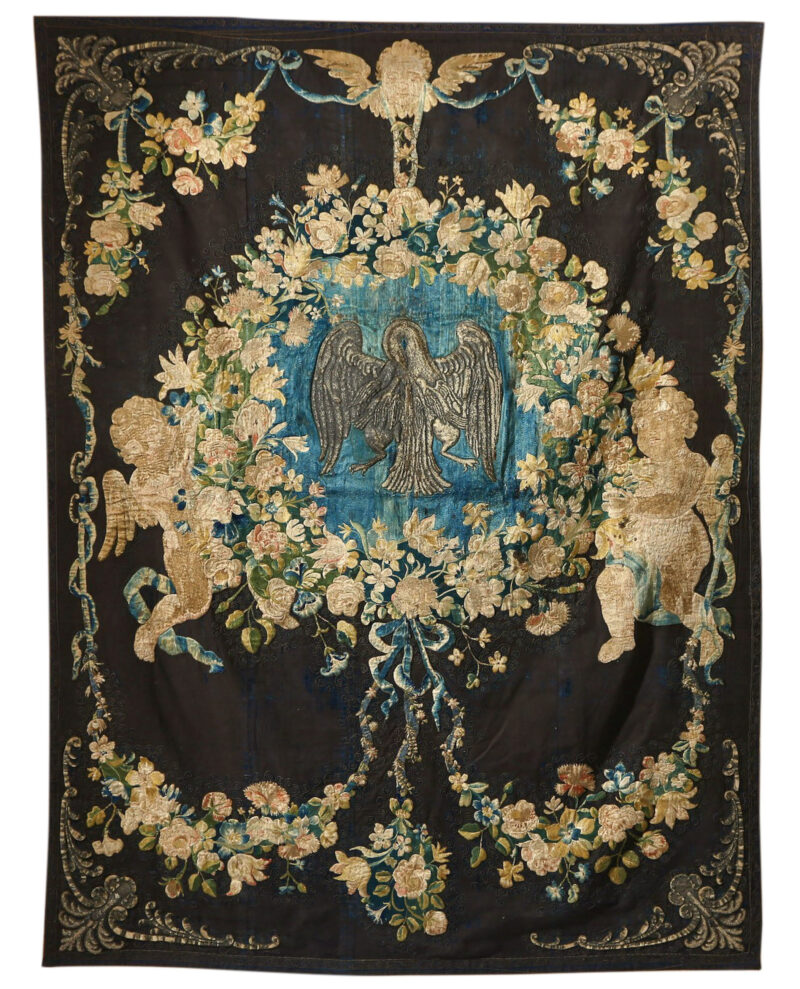Renaissance velvet and silk wall hanging