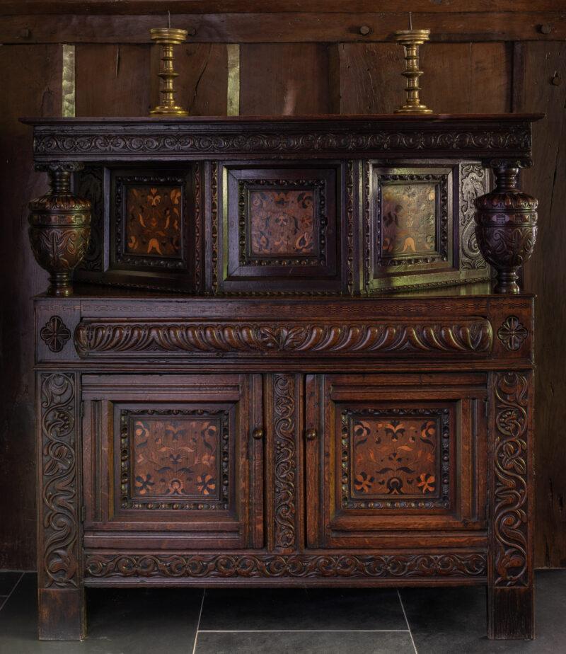 Charles I oak inlaid press cupboard