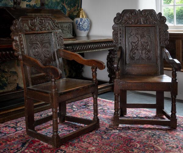 James II joined oak armchairs