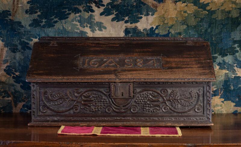 Charles II oak carved desk box