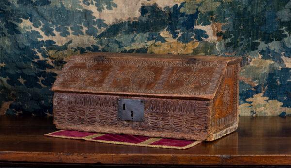 17th century pine chip carved desk box