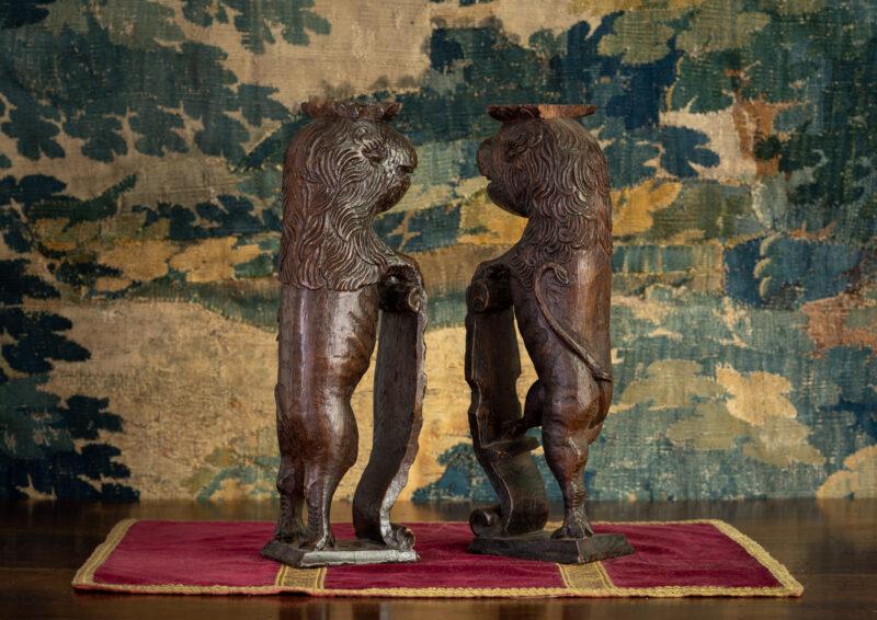 Elizabeth I oak carved heraldic beasts