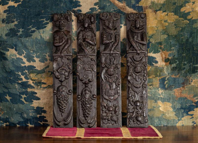Elizabeth I oak carved terms