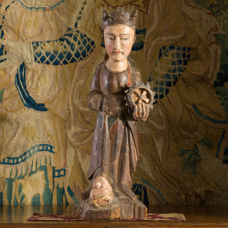 Medieval sculpture of St Catherine