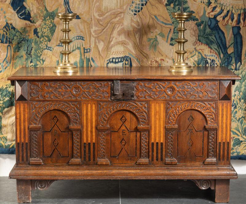 James I oak inlaid chest