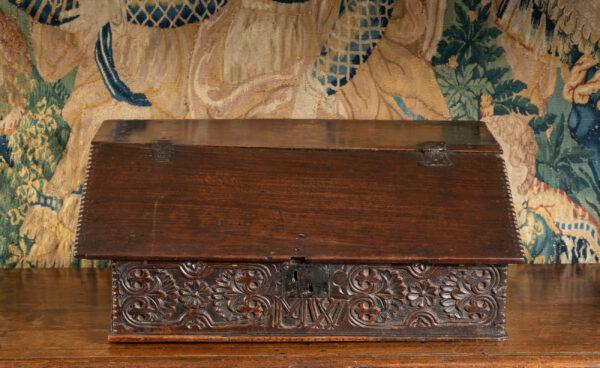 Charles II oak desk box