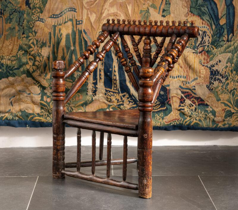 Charles I oak turned armchair