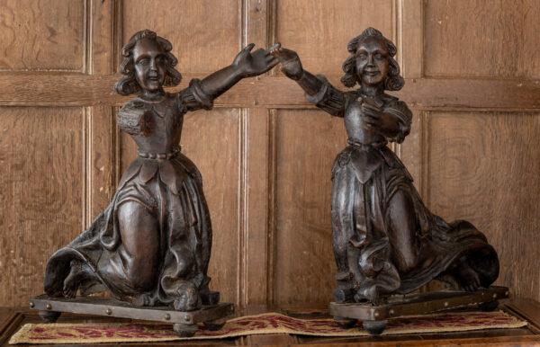 Pair of English oak sculptures